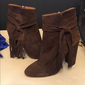 Aquazurra fringe ankle booties